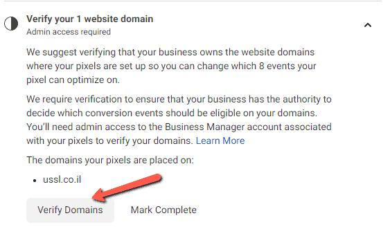 verify facebook domain