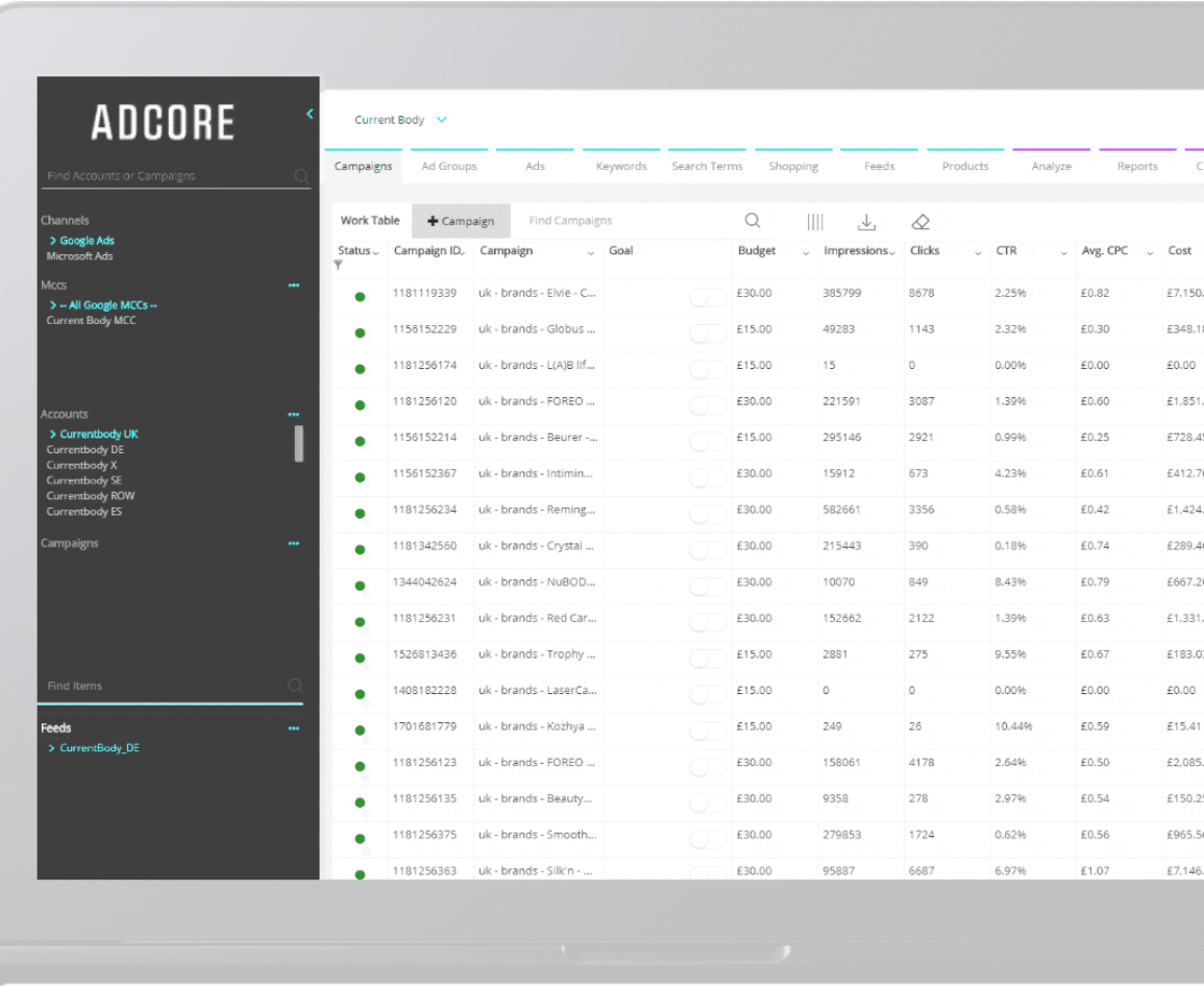 adcore hompage